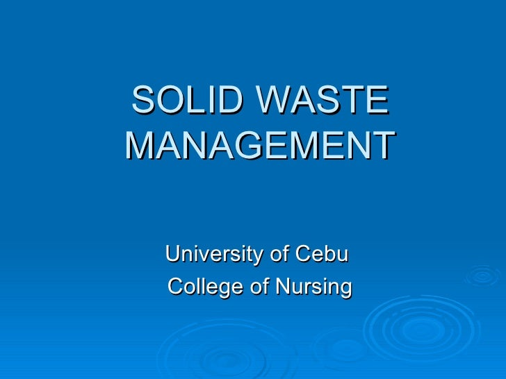 UC Nursing CESDEV Solid Waste Management
