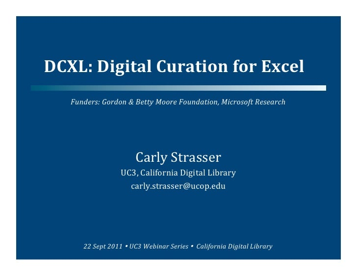 Digital Curation for Excel (DCXL)