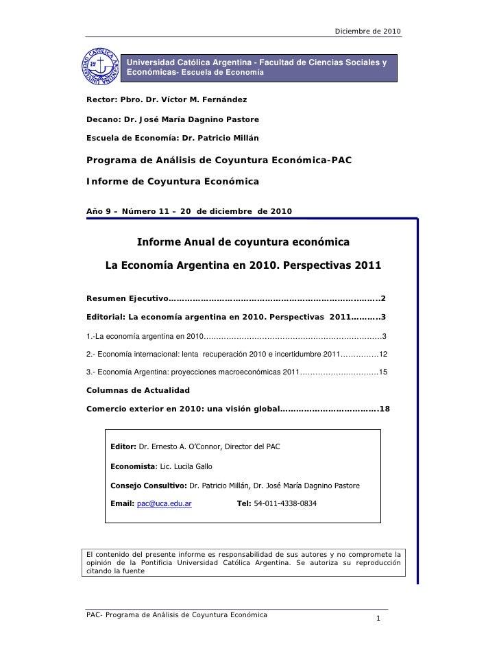 Diciembre de 2010           Universidad Católica Argentina - Facultad de Ciencias Sociales y           Económicas- Escuela...
