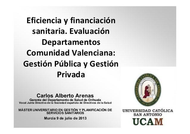 Eficiencia y financiación sanitaria. Evaluación Departamentos Comunidad Valenciana: Gestión Pública y Gestión Privada Carl...