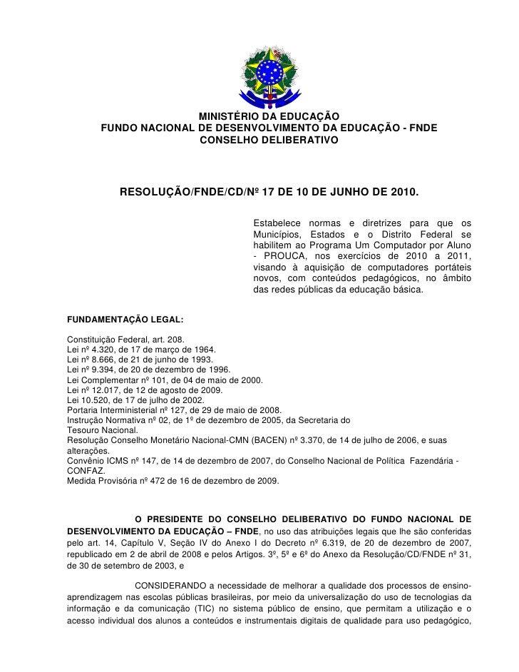 Resolução do FNDE sobre o Projeto UCA