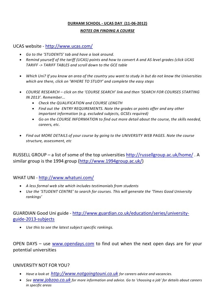 DURHAM SCHOOL - UCAS DAY (11-06-2012)                                       NOTES ON FINDING A COURSEUCAS website - http:/...