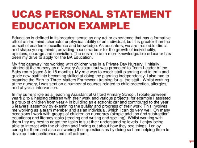 How to write a personal statement for sociology   Education   The     Example of a UCAS personal statement for Education