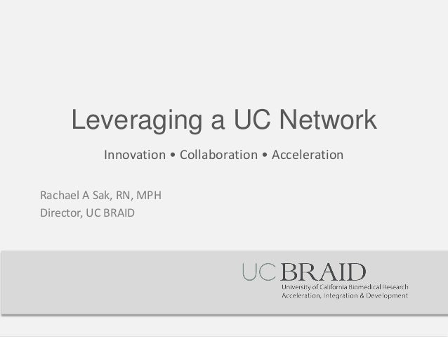 Leveraging a UC Network  Innovation • Collaboration • Acceleration  Rachael A Sak, RN, MPH  Director, UC BRAID