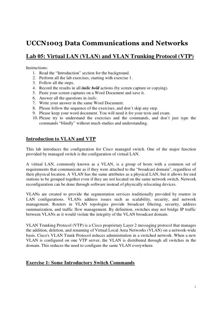 UCCN1003 Data Communications and NetworksLab 05: Virtual LAN (VLAN) and VLAN Trunking Protocol (VTP)Instructions:    1. Re...