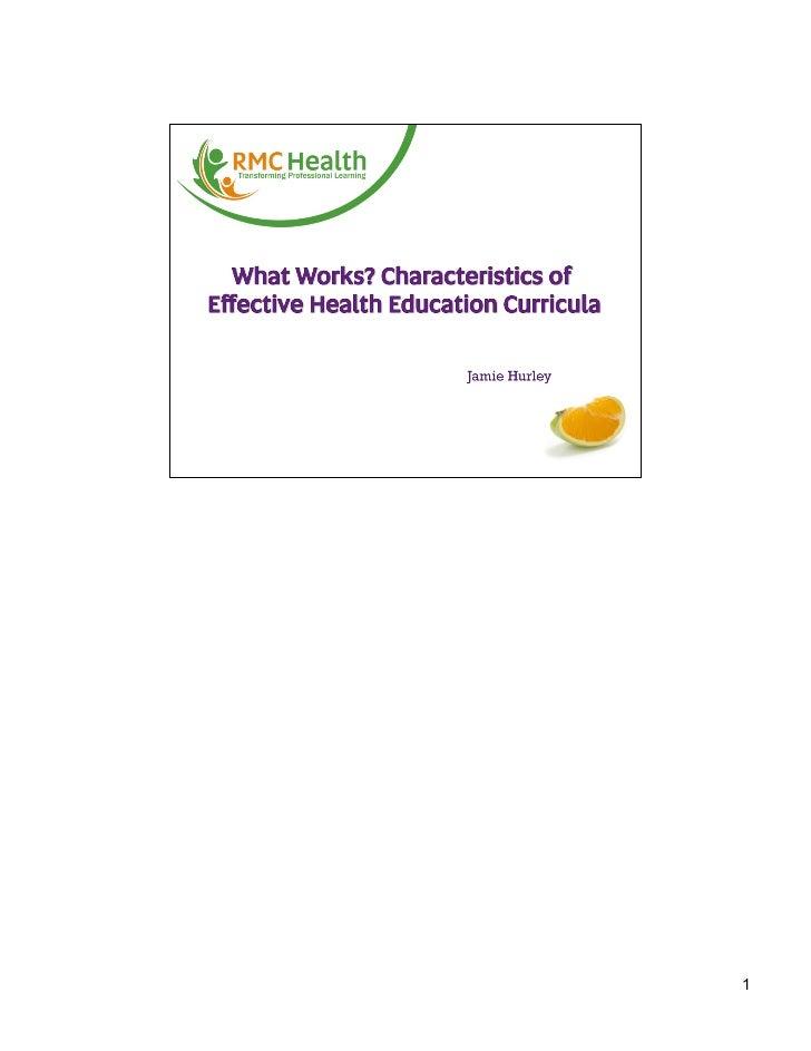 Characteristics of Effective Health Curricula