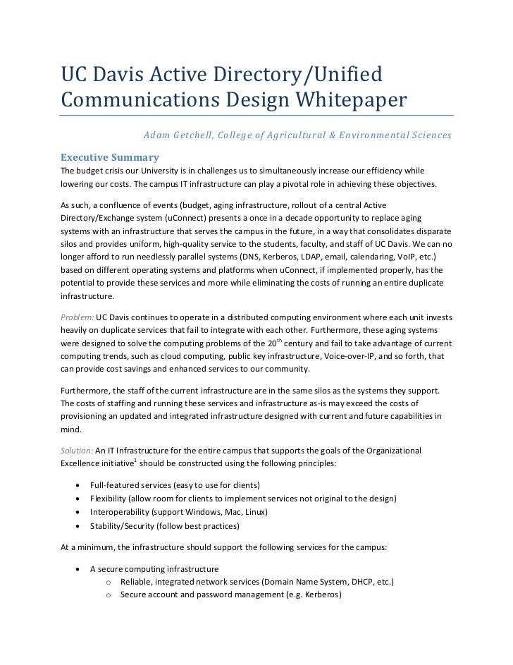 UC Davis Active Directory/UnifiedCommunications Design Whitepaper                      Adam Getchell, College of Agricultu...
