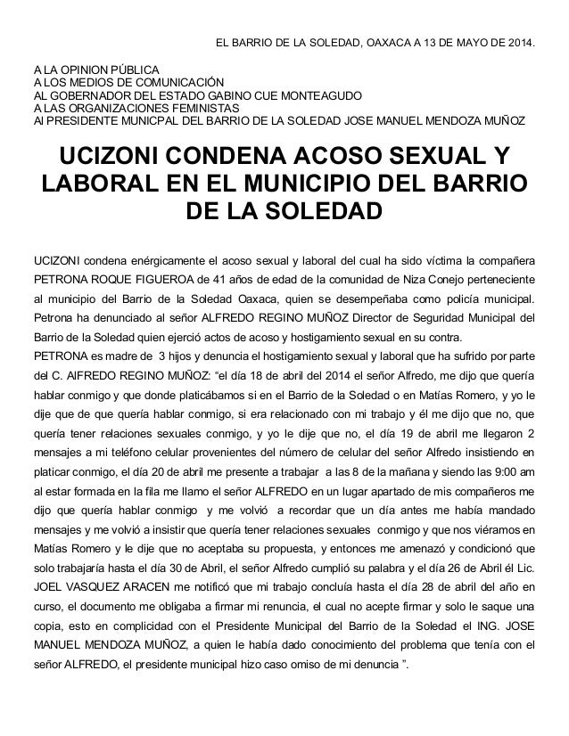 Ucizoni condena acoso sexual y laboral en el municipio del barrio de la soledad