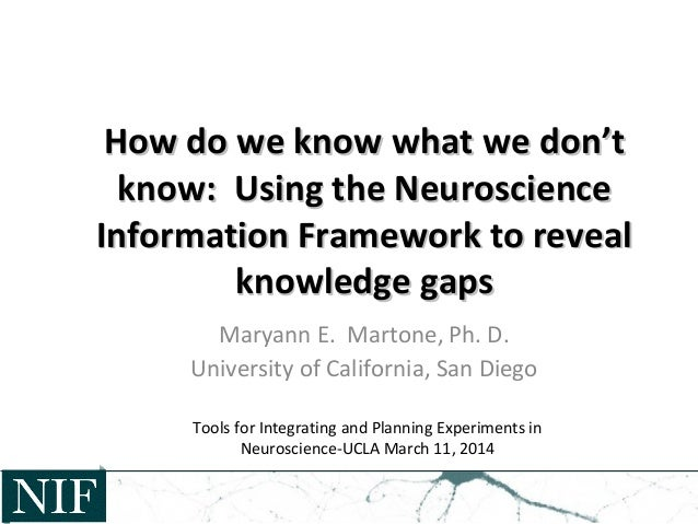 How do we know what we don't know:  Using the Neuroscience Information Framework to reveal knowledge gaps