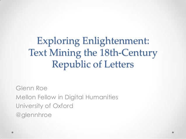 Exploring Enlightenment: Text Mining the 18th-Century Republic of Letters