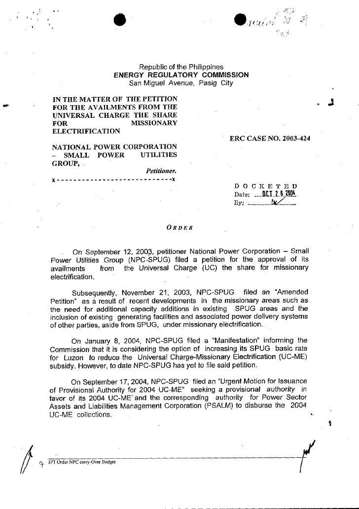 Order ERC Case No. 2003 424, 10-18-2004
