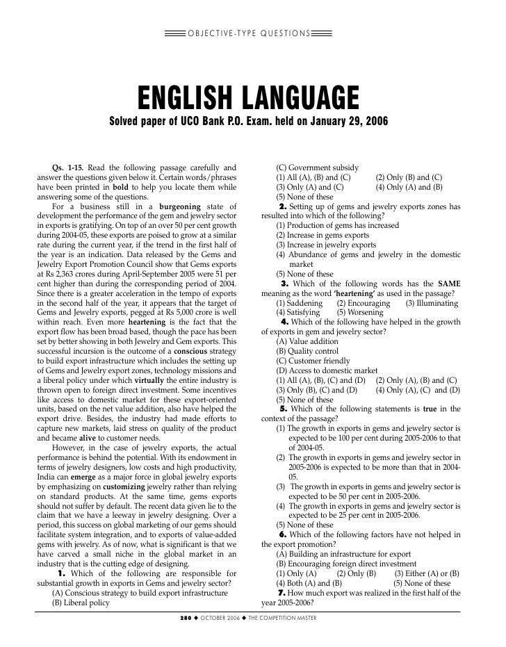 O B J E C T I V E -T Y P E Q U E S T I O N S                               ENGLISH LANGUAGE                      Solved pa...