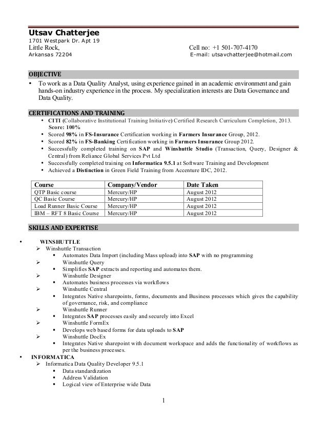 informatica sample resume