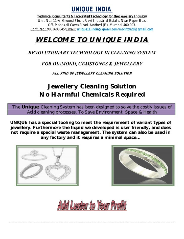 UNIQUE INDIA               Technical Consultants & Integrated Technology for the Jewellery Industry                Unit No...