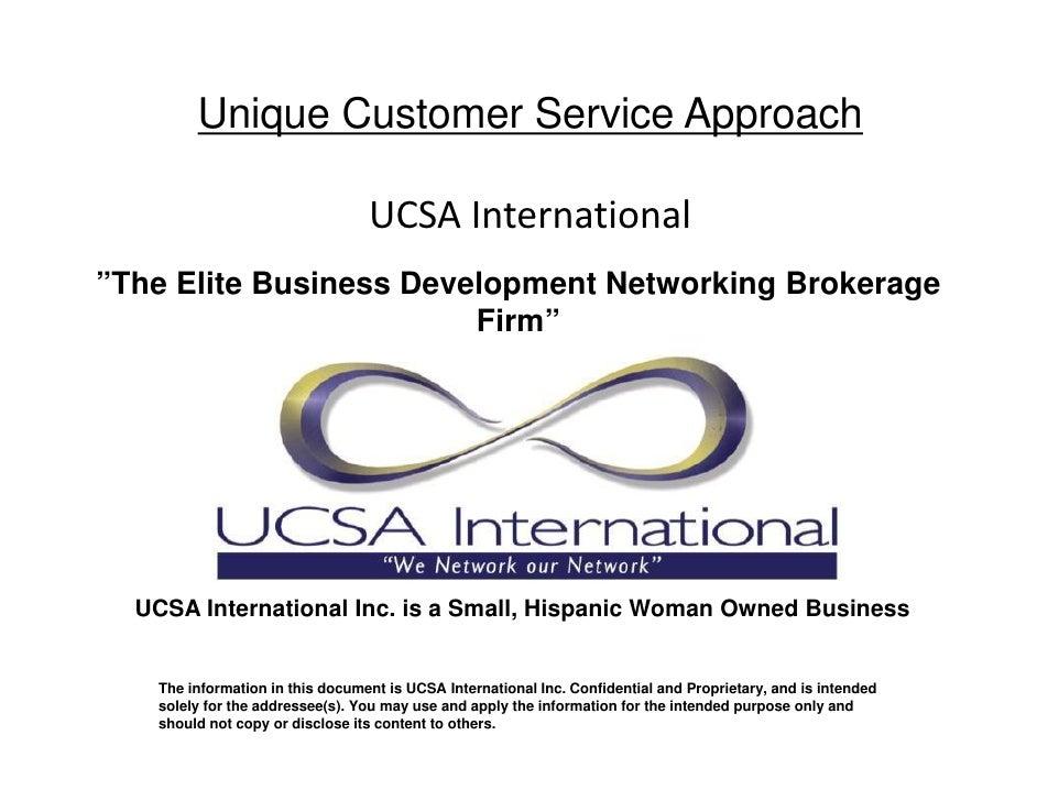 "Unique Customer Service Approach                                   UCSAInternational ""The Elite Business Development Netw..."