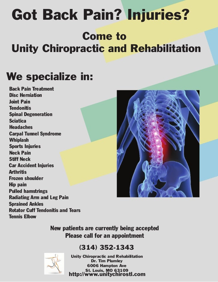 Got Back Pain? Injuries?              Come to Unity Chiropractic and RehabilitationWe specialize in:Back Pain TreatmentDis...