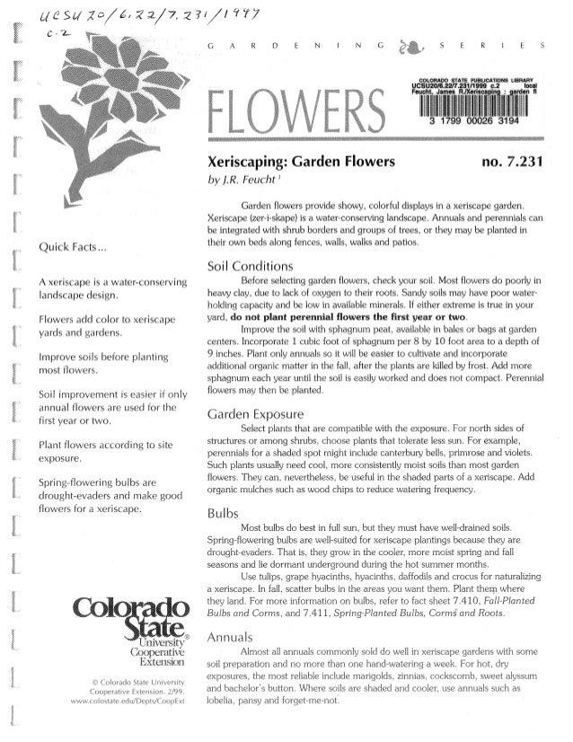 Xeriscaping: Garden Flowers                                           no. 7.231                                           ...