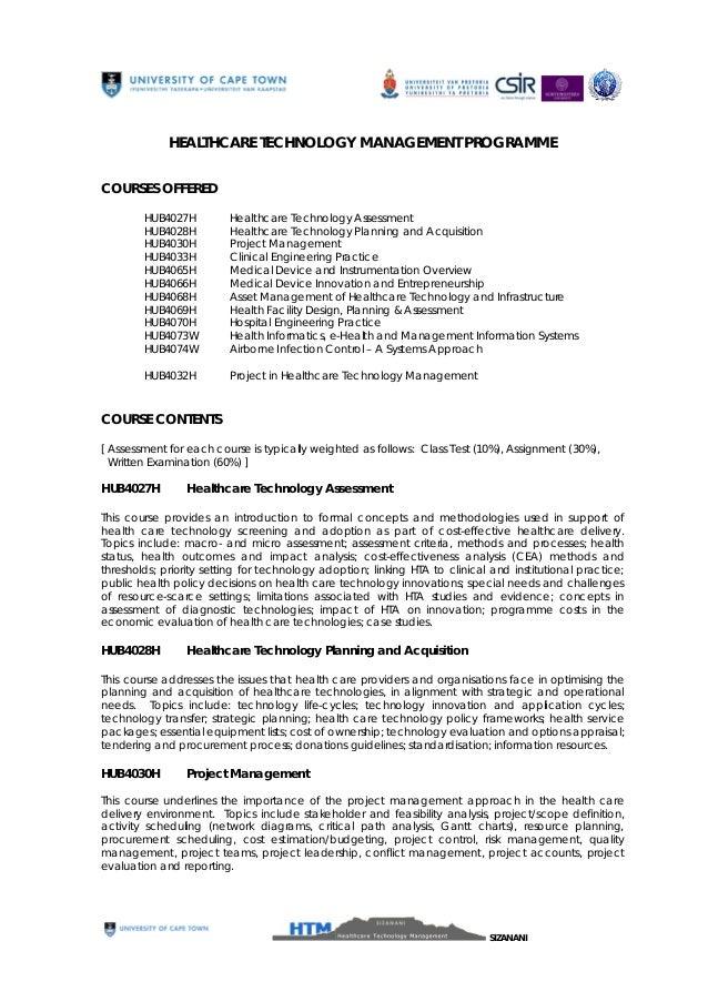 HEALTHCARE TECHNOLOGY MANAGEMENT PROGRAMME COURSES OFFERED HUB4027H HUB4028H HUB4030H HUB4033H HUB4065H HUB4066H HUB4068H ...