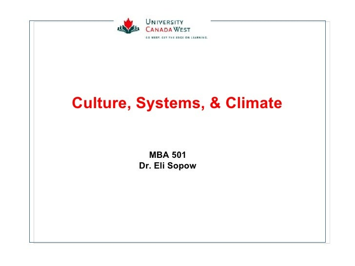 Culture, Systems, & Climate MBA 501 Dr. Eli Sopow