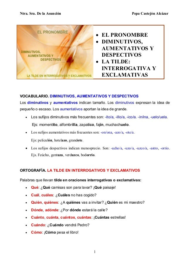 Ntra. Sra. De la Asunción Pepa Castejón Alcázar 1 VOCABULARIO. DIMINUTIVOS, AUMENTATIVOS Y DESPECTIVOS Los diminutivos y a...