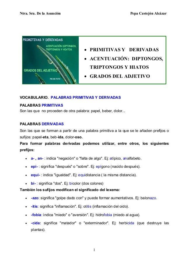Ntra. Sra. De la Asunción Pepa Castejón Alcázar 1  PRIMITIVAS Y DERIVADAS  ACENTUACIÓN: DIPTONGOS, TRIPTONGOS Y HIATOS ...