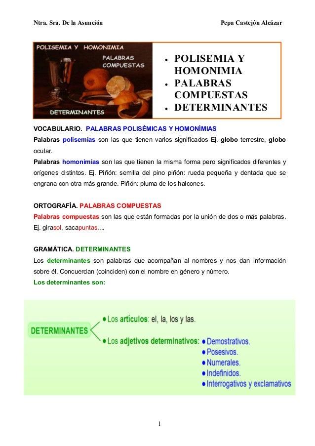 Ntra. Sra. De la Asunción Pepa Castejón Alcázar 1  POLISEMIA Y HOMONIMIA  PALABRAS COMPUESTAS  DETERMINANTES VOCABULARI...