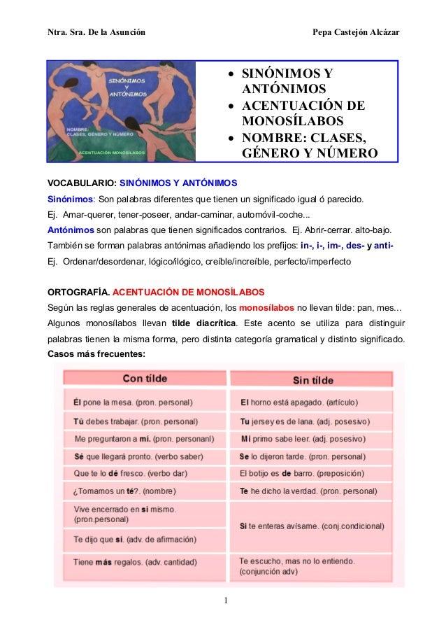 Ntra. Sra. De la Asunción Pepa Castejón Alcázar 1 VOCABULARIO: SINÓNIMOS Y ANTÓNIMOS Sinónimos: Son palabras diferentes qu...