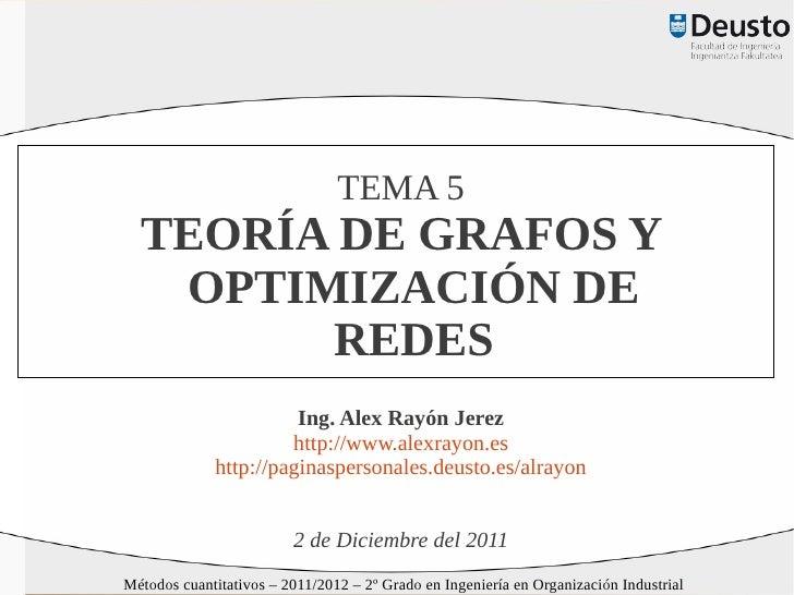 TEMA 5  TEORÍA DE GRAFOS Y   OPTIMIZACIÓN DE        REDES                       Ing. Alex Rayón Jerez                     ...
