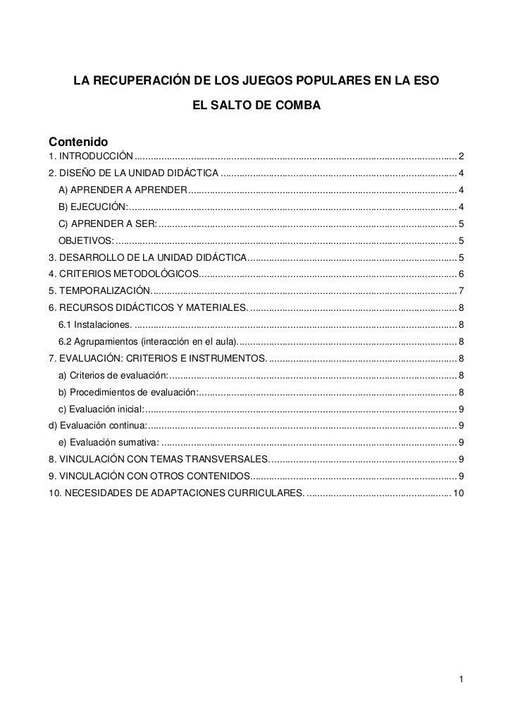"""LA RECUPERACIÓN DE LOS JUEGOS POPULARES EN LA ESO<br />EL SALTO DE COMBA<br />Contenido TOC o """"1-3"""" h z u 1. INTRODUCCIÓN ..."""