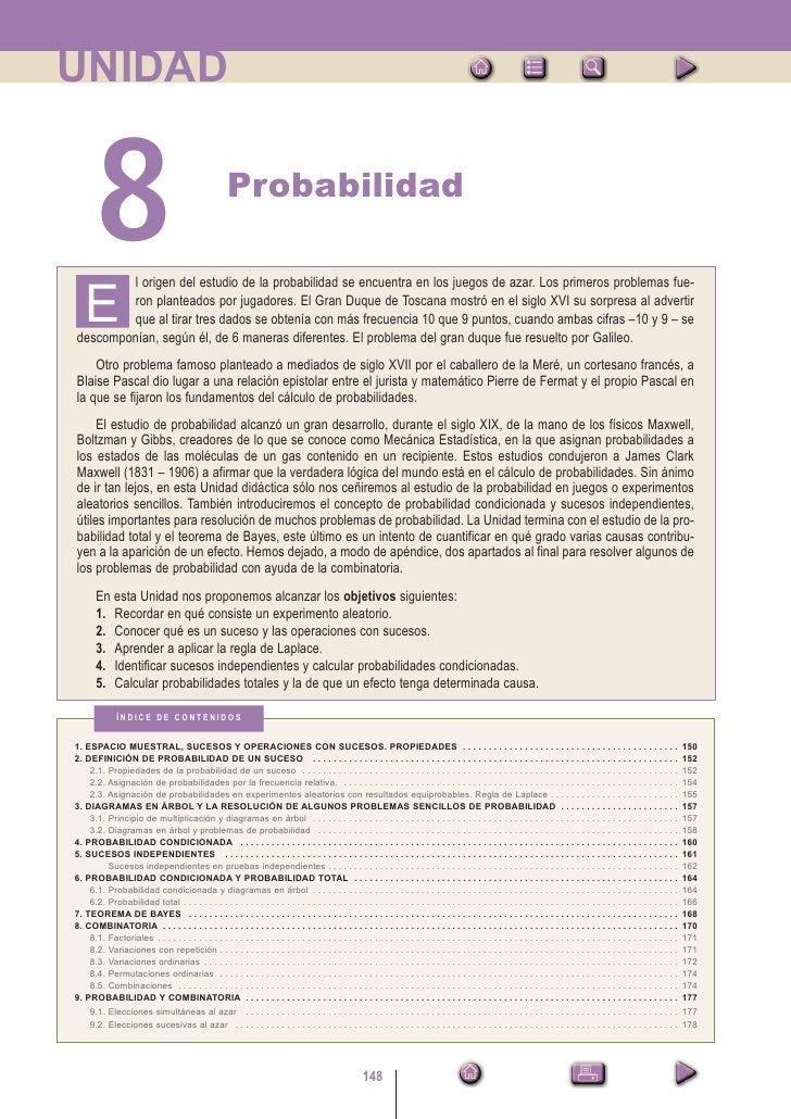 UNIDAD       8                                                Probabilidad        l origen del estudio de la probabilidad ...
