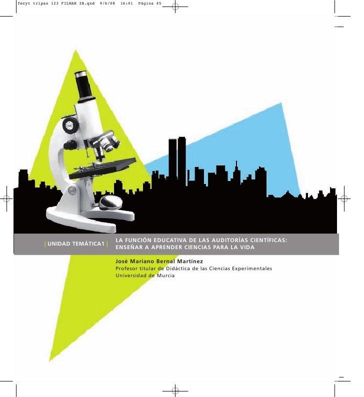 Ud1: La función educativa de las autoridades científicas: enseñar a aprender ciencias para la vida