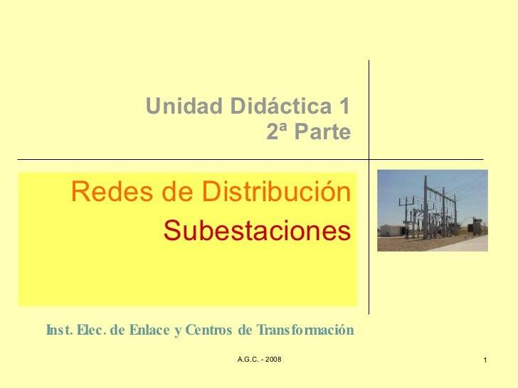 Unidad Didáctica 1 2ª Parte Redes de Distribución Subestaciones