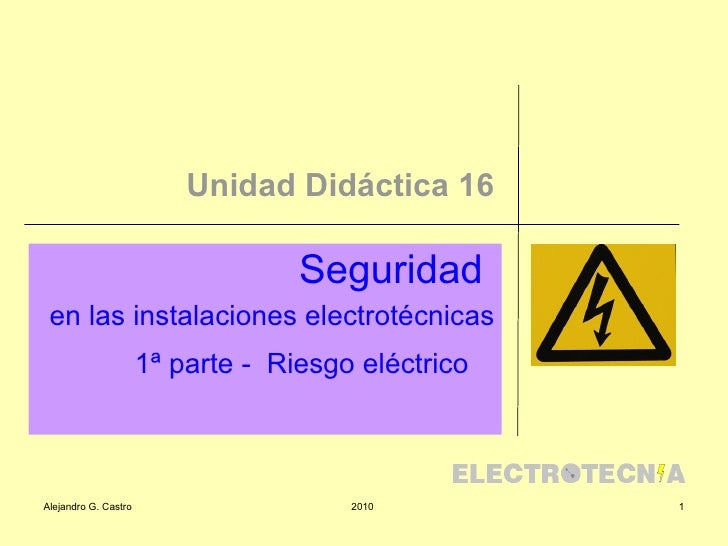 Unidad Didáctica 16 Seguridad  en las instalaciones electrotécnicas 1ª parte -  Riesgo eléctrico