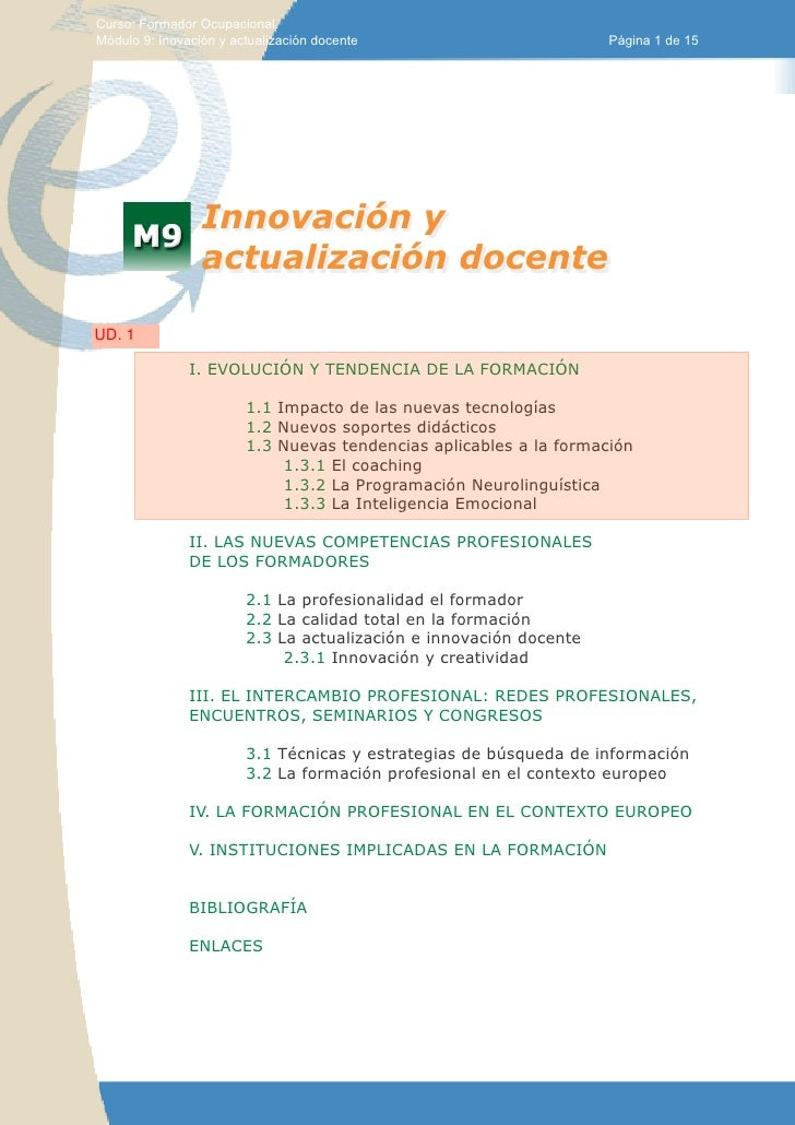 Curso: Formador Ocupacional.Módulo 9: Inovación y actualización docente                         Página 1 de 15            ...