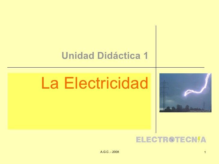 Unidad Didáctica 1 La Electricidad Conceptos Generales