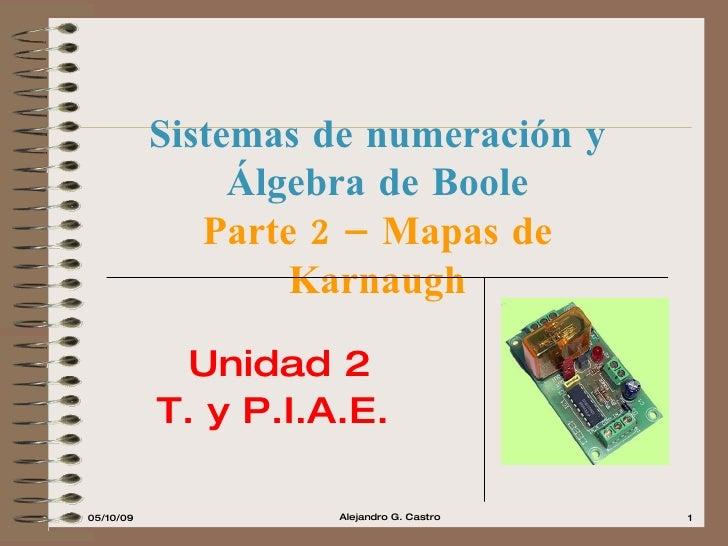 Sistemas de numeración y Álgebra de Boole Parte 2 – Mapas de Karnaugh Unidad 2 T. y P.I.A.E.