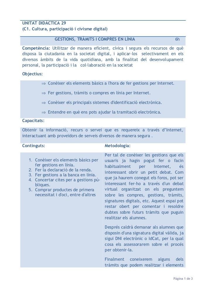UNITAT DIDÀCTICA 29(C1. Cultura, participació i civisme digital)                 GESTIONS, TRÀMITS I COMPRES EN LÍNIA     ...
