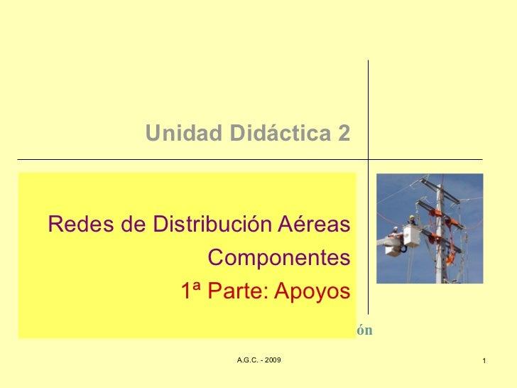 Unidad Didáctica 2 Redes de Distribución Aéreas Componentes 1ª Parte: Apoyos