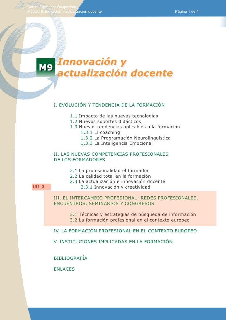Curso: Formador Ocupacional.Módulo 9: Inovación y actualización docente                         Página 1 de 4             ...