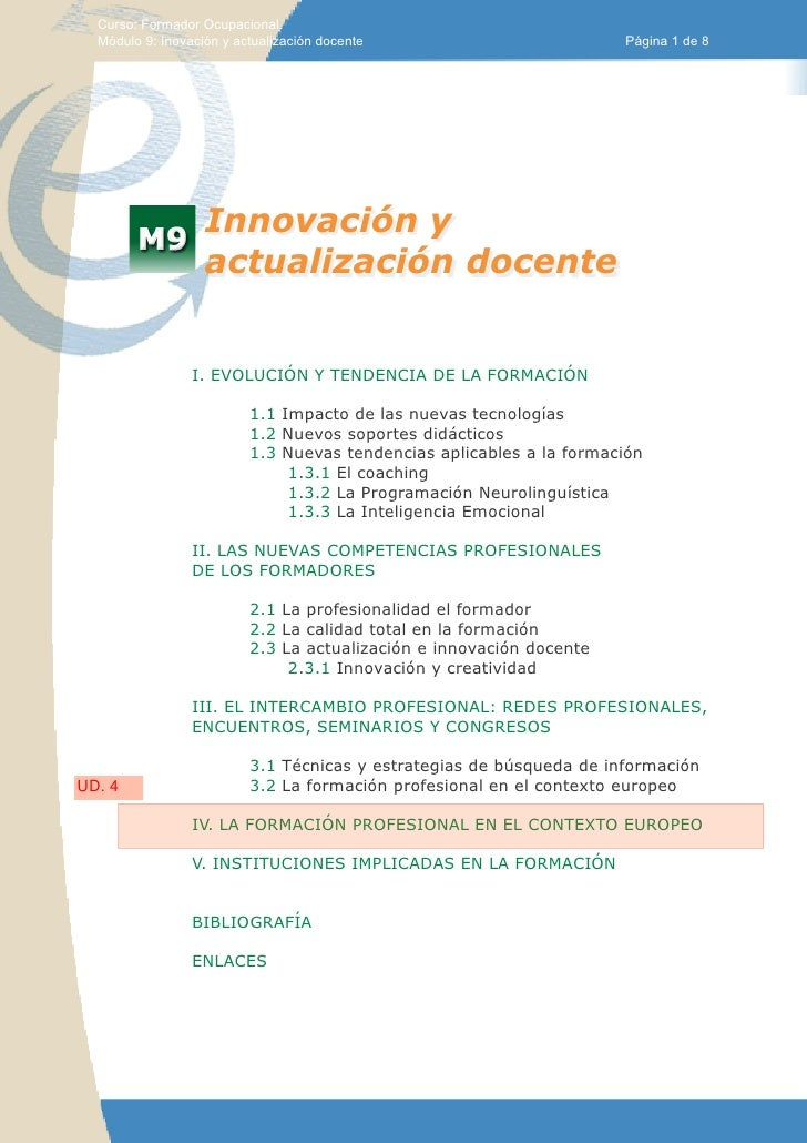 Curso: Formador Ocupacional.  Módulo 9: Inovación y actualización docente                         Página 1 de 8           ...