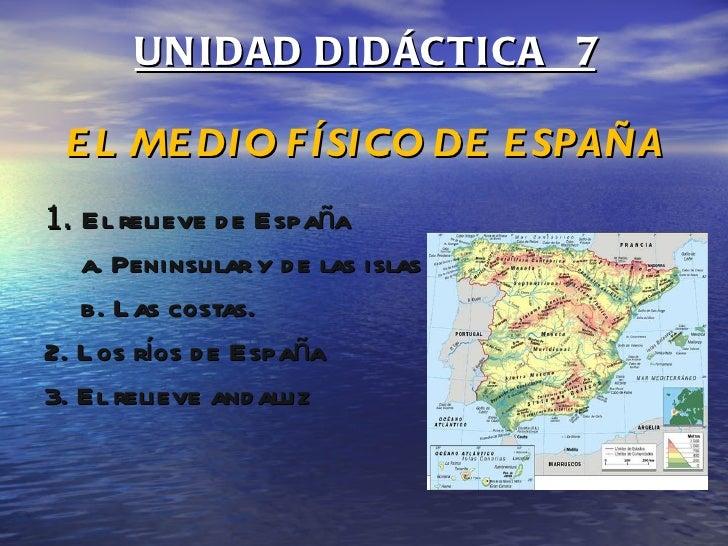 UNIDAD DIDÁCTICA  7 EL MEDIO FÍSICO DE ESPAÑA <ul><li>1.  El relieve de España </li></ul><ul><ul><li>a. Peninsular y de la...