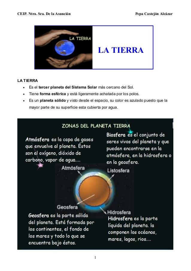 CEIP. Ntra. Sra. De la Asunción Pepa Castejón Alcázar 1 LA TIERRA  Es el tercer planeta del Sistema Solar más cercano del...