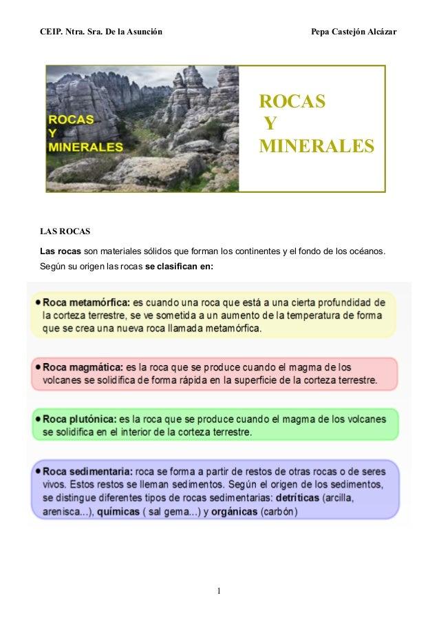 CEIP. Ntra. Sra. De la Asunción Pepa Castejón Alcázar 1 LAS ROCAS Las rocas son materiales sólidos que forman los continen...