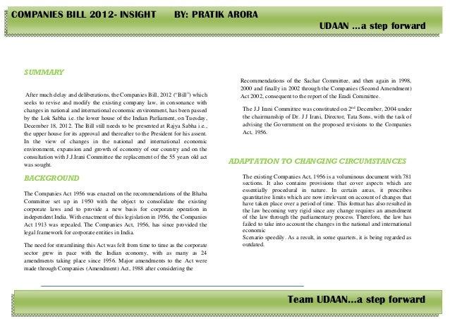 COMPANIES BILL 2012- INSIGHT                                       BY: PRATIK ARORA                                       ...