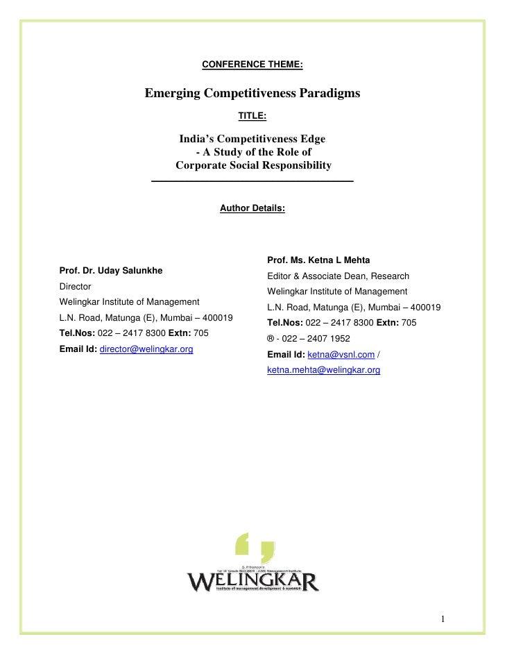 Uday Salunkhe - Emerging Competitiveness Paradigms
