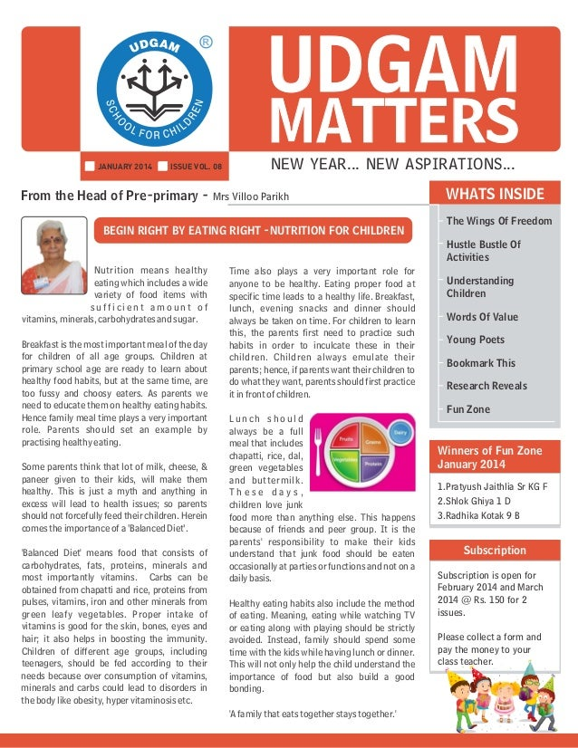 UDGAM MATTERS      NEW YEAR... NEW ASPIRATIONS...  From the Head of Pre-primary - Mrs Villoo Pari...