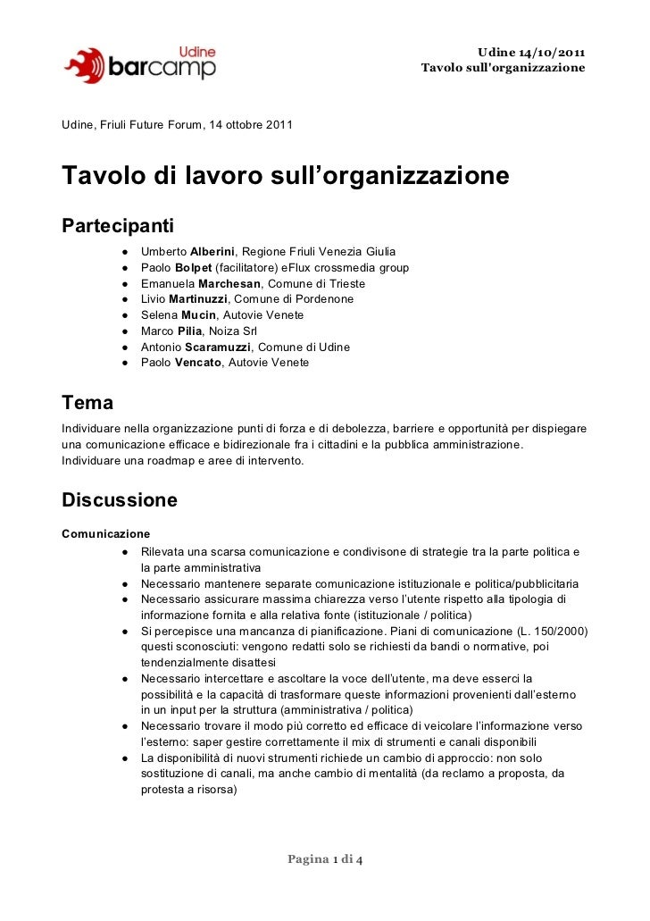 Udine 14/10/2011                                                                     Tavolo sullorganizzazioneUdine, Friul...
