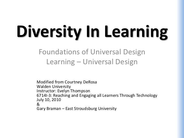 Diversity In Learning   Foundations of Universal Design     Learning – Universal Design  Modified from Courtney DeRosa  Wa...
