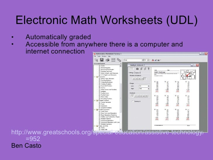 Electronic Math Worksheet Software - Educational Math Activities
