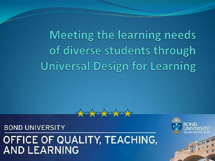 Meeting the learning needs of diverse students throughUniversal Design for Learning<br />1<br />